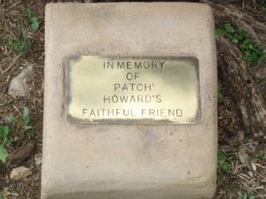 Primary view of object titled 'Memorial plaque for Robert E. Howards dog Patch'.