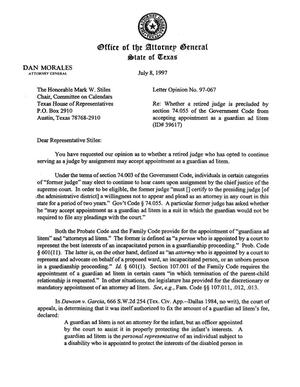 Primary view of object titled 'Texas Attorney General Opinion: LO97-067'.