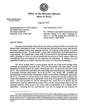 Primary view of object titled 'Texas Attorney General Opinion: LO97-077'.