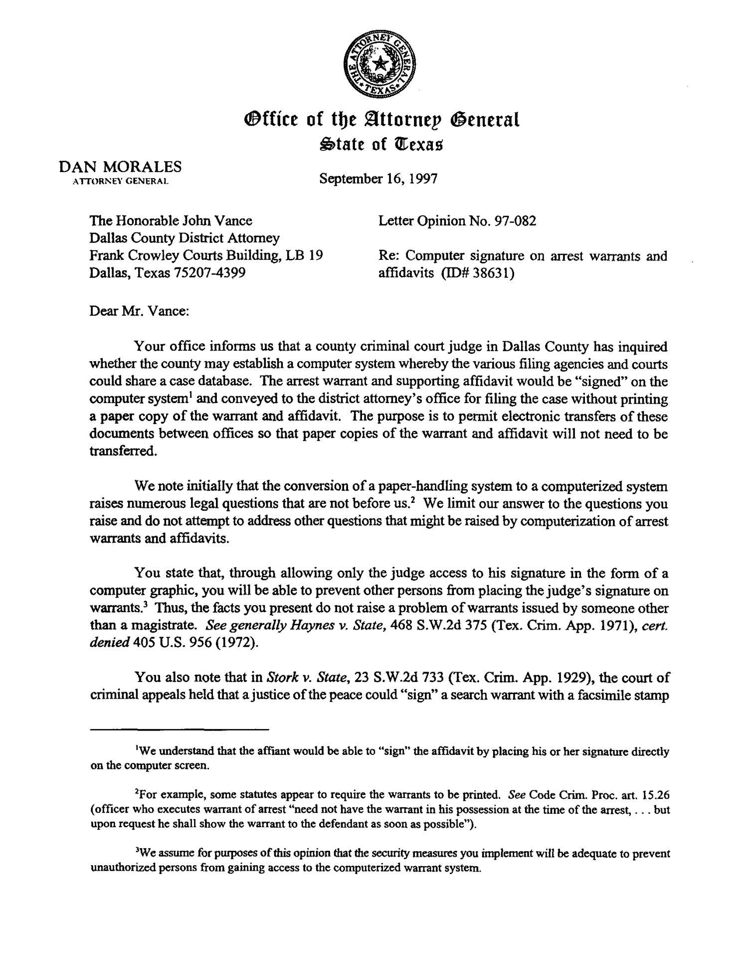 Texas Attorney General Opinion LO97 082