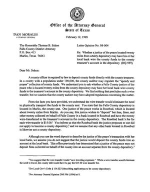 Primary view of object titled 'Texas Attorney General Opinion: LO98-004'.