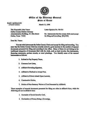 Primary view of object titled 'Texas Attorney General Opinion: LO98-016'.