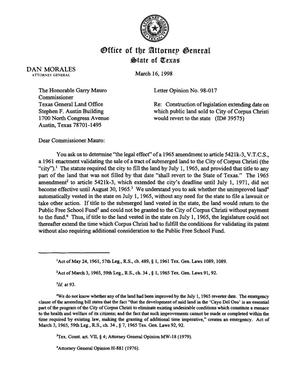 Primary view of object titled 'Texas Attorney General Opinion: LO98-017'.