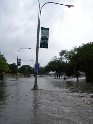 Photograph of Flood waters at the Denton Public Library, Emily Fowler Central Library]