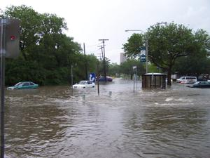 [Photograph of Flood waters at the Denton Public Library, Emily Fowler Central Library]