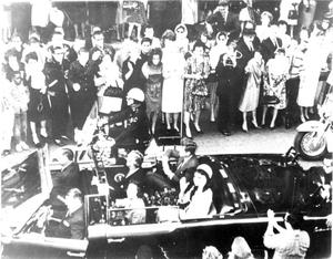 Primary view of object titled 'John F. Kennedy's Motorcade in Dallas'.