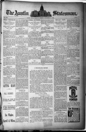 Primary view of object titled 'The Austin Statesman. (Austin, Tex.), Vol. 19, No. 30, Ed. 1 Thursday, September 19, 1889'.