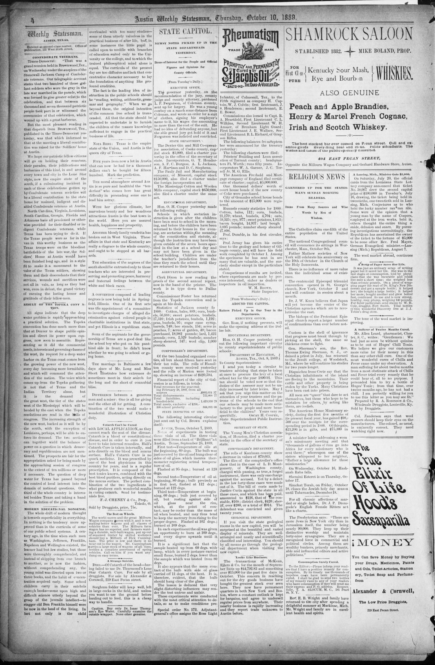 The Austin Statesman. (Austin, Tex.), Vol. 18, No. 44, Ed. 1 Thursday, October 10, 1889                                                                                                      [Sequence #]: 4 of 8
