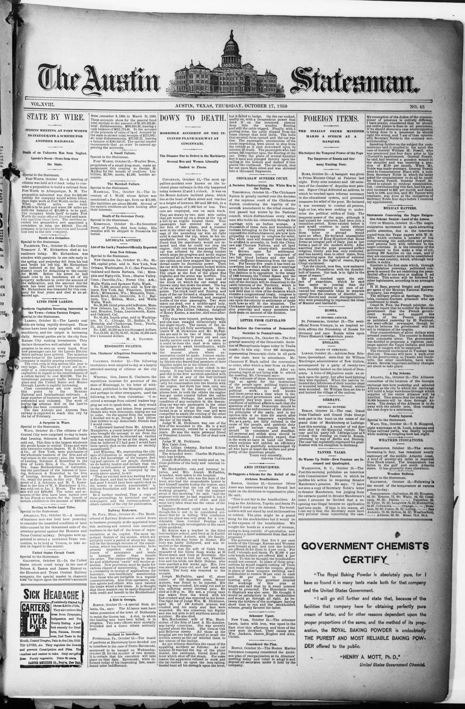 The Austin Statesman. (Austin, Tex.), Vol. 18, No. 45, Ed. 1 Thursday, October 17, 1889                                                                                                      [Sequence #]: 1 of 8