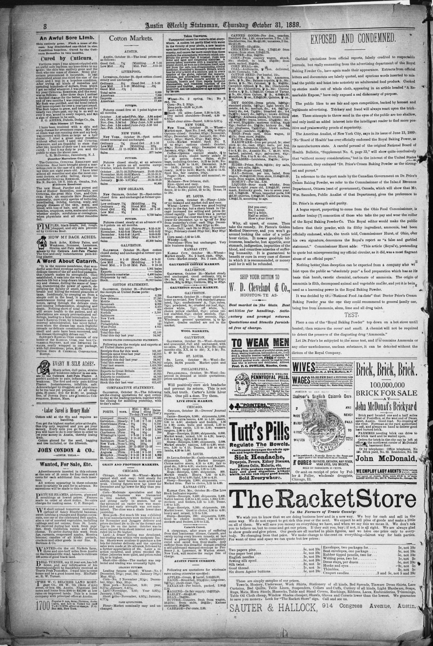 The Austin Statesman. (Austin, Tex.), Vol. 18, No. 47, Ed. 1 Thursday, October 31, 1889                                                                                                      [Sequence #]: 8 of 8