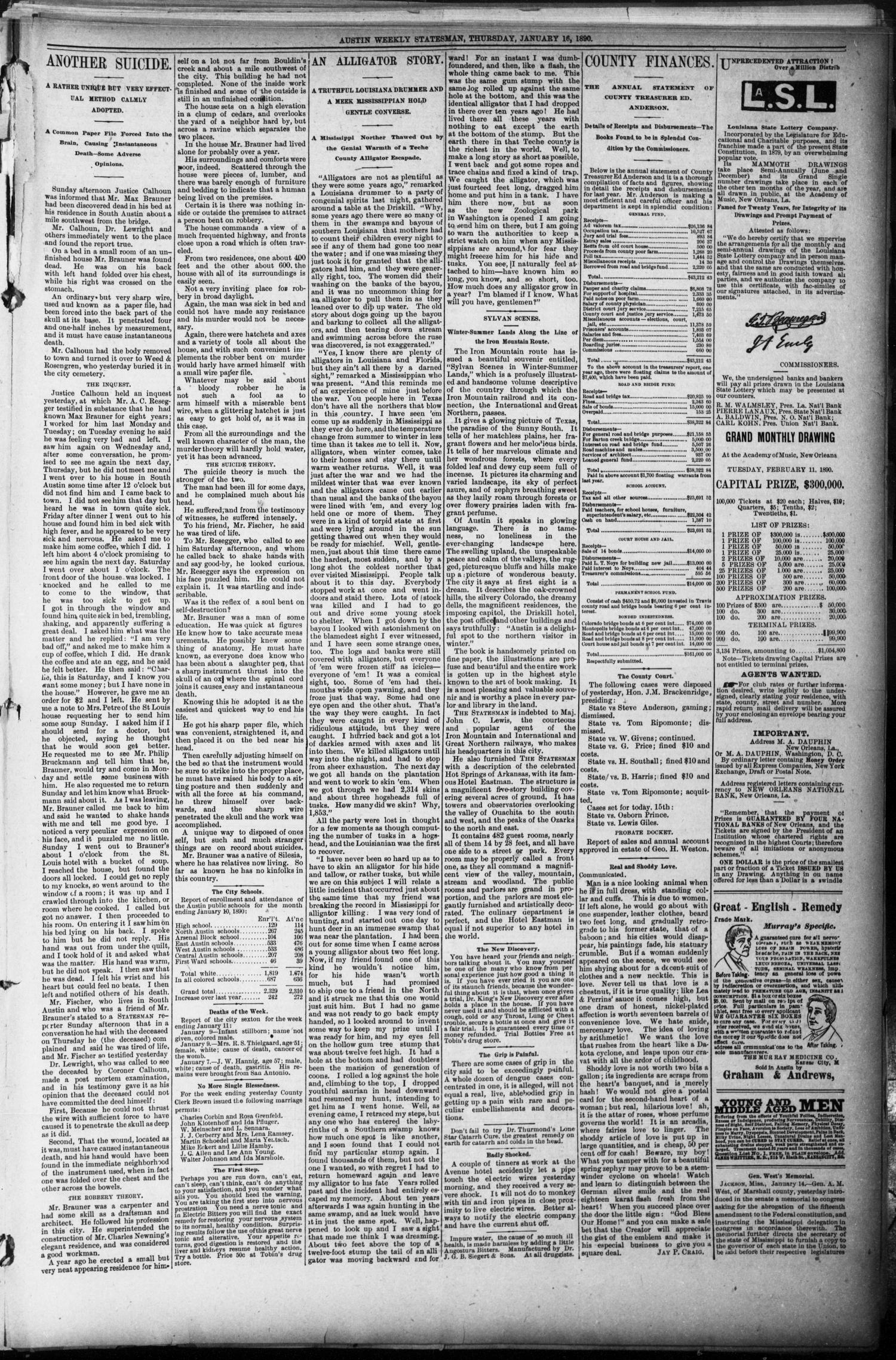 The Austin Statesman. (Austin, Tex.), Vol. 18, No. 55, Ed. 1 Thursday, January 16, 1890                                                                                                      [Sequence #]: 5 of 8