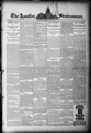 Primary view of object titled 'The Austin Statesman. (Austin, Tex.), Vol. 20, No. 3, Ed. 1 Thursday, June 5, 1890'.