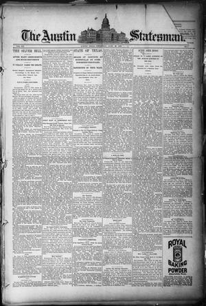 Primary view of object titled 'The Austin Statesman. (Austin, Tex.), Vol. 20, No. 4, Ed. 1 Thursday, June 19, 1890'.