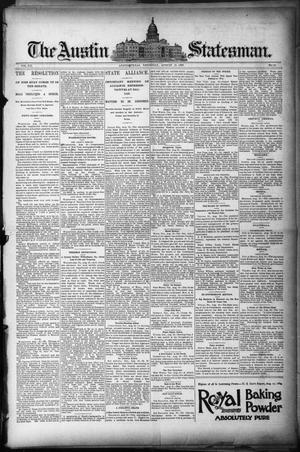 Primary view of object titled 'The Austin Statesman. (Austin, Tex.), Vol. 20, No. 11, Ed. 1 Thursday, August 21, 1890'.