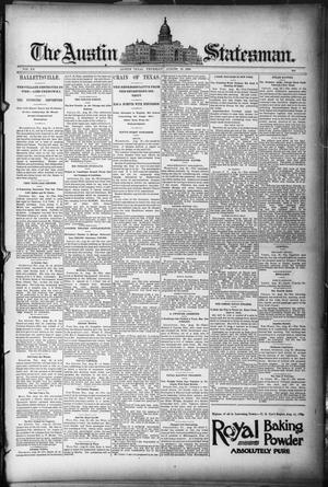 Primary view of object titled 'The Austin Statesman. (Austin, Tex.), Vol. 20, Ed. 1 Thursday, August 28, 1890'.
