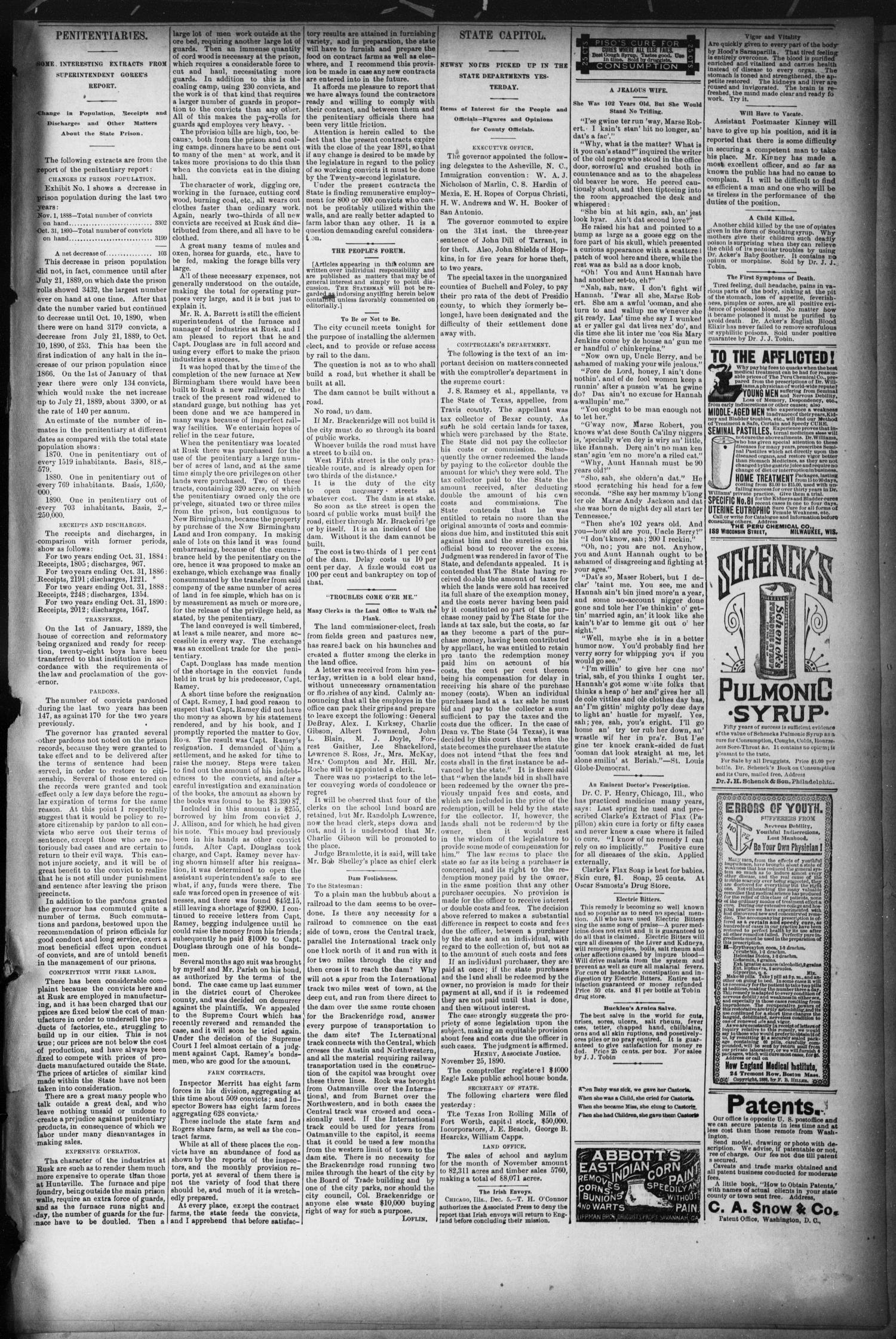 The Austin Statesman. (Austin, Tex.), Ed. 1 Thursday, December 11, 1890                                                                                                      [Sequence #]: 3 of 8