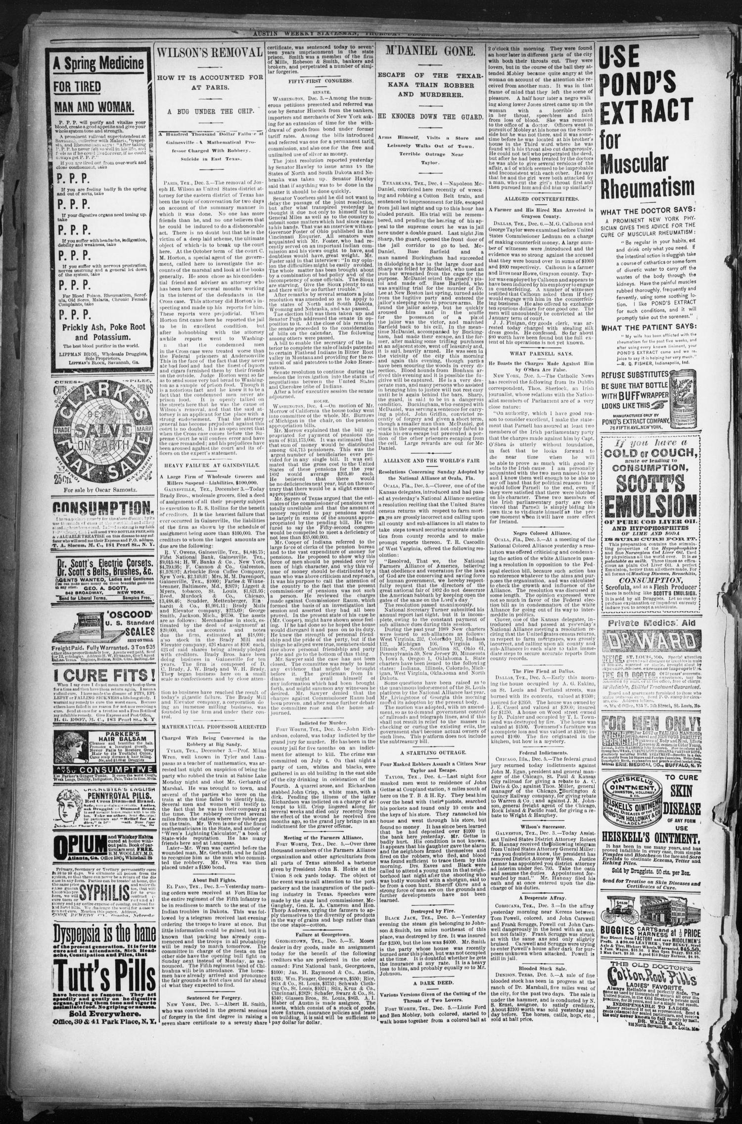 The Austin Statesman. (Austin, Tex.), Ed. 1 Thursday, December 11, 1890                                                                                                      [Sequence #]: 6 of 8