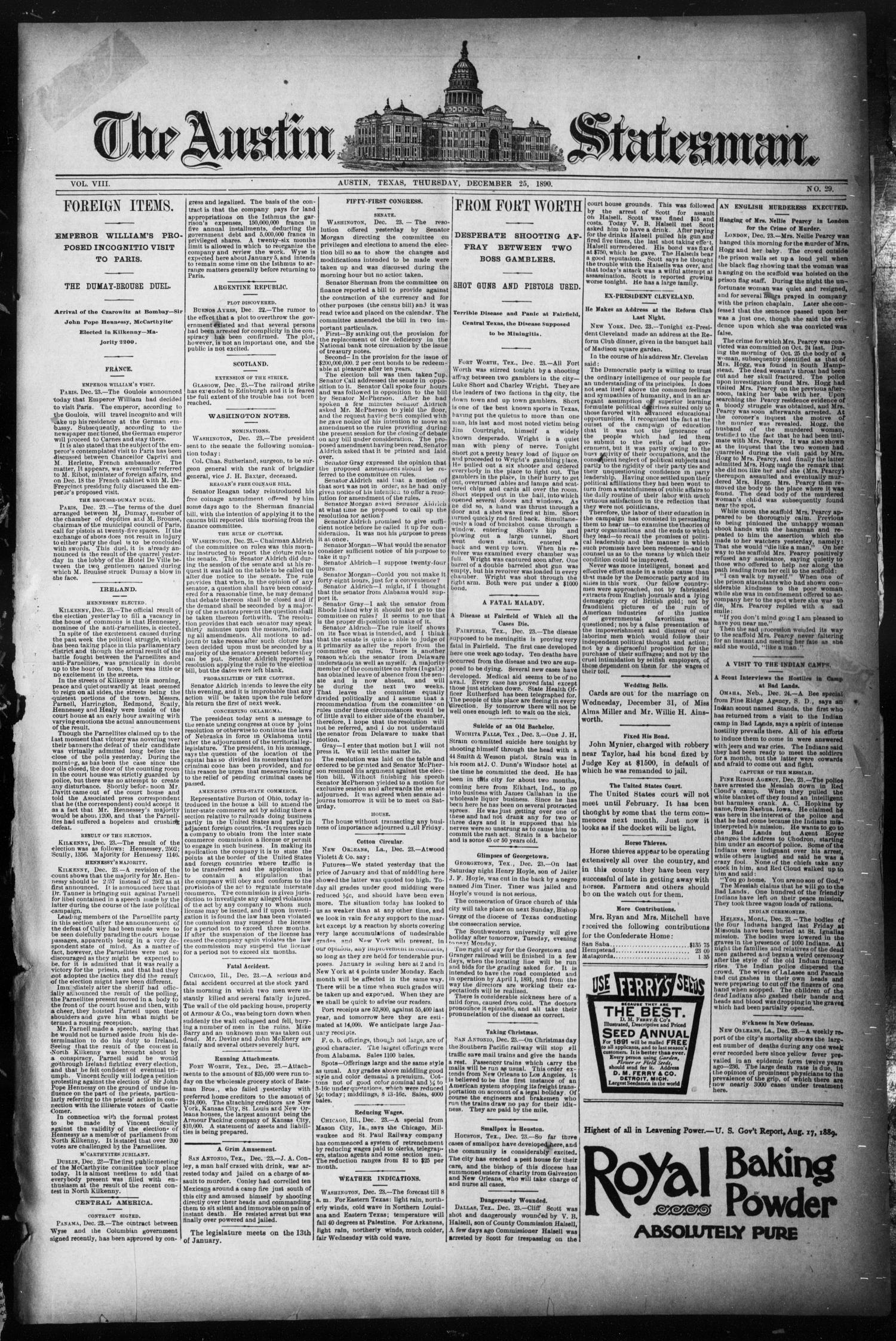 The Austin Statesman. (Austin, Tex.), Vol. 8, No. 29, Ed. 1 Thursday, December 25, 1890                                                                                                      [Sequence #]: 1 of 8