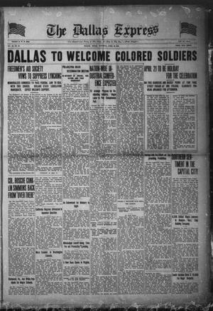 Primary view of object titled 'The Dallas Express (Dallas, Tex.), Vol. 26, No. 27, Ed. 1 Saturday, April 19, 1919'.