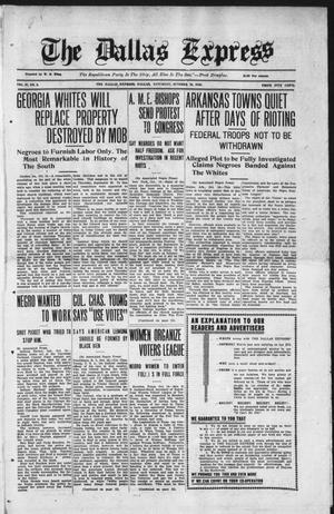 The Dallas Express (Dallas, Tex.), Vol. 27, No. 2, Ed. 1 Saturday, October 18, 1919