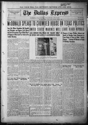 The Dallas Express (Dallas, Tex.), Vol. 28, No. 1, Ed. 1 Saturday, October 9, 1920