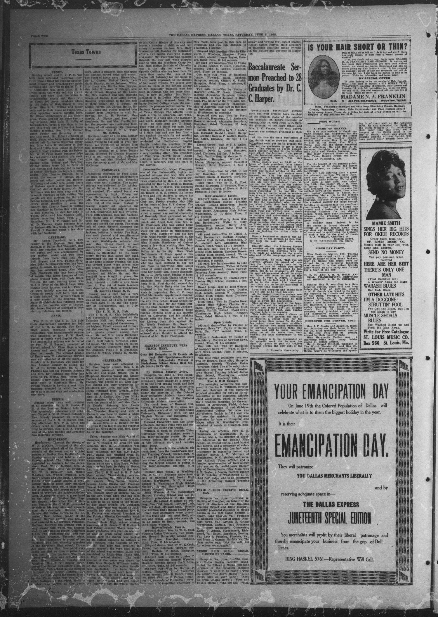 The Dallas Express (Dallas, Tex.), Vol. 29, No. 33, Ed. 1 Saturday, June 3, 1922                                                                                                      [Sequence #]: 2 of 8