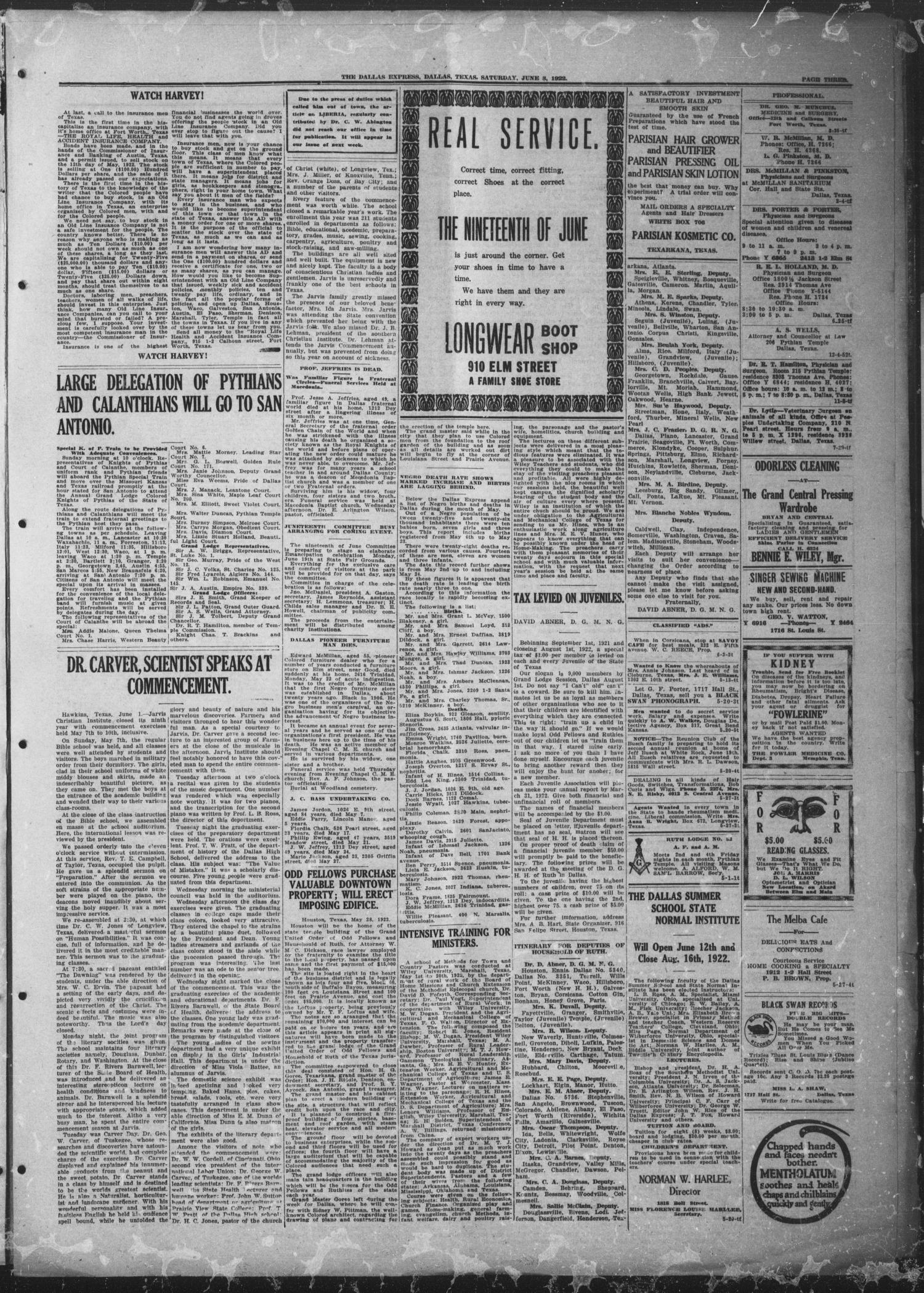 The Dallas Express (Dallas, Tex.), Vol. 29, No. 33, Ed. 1 Saturday, June 3, 1922                                                                                                      [Sequence #]: 3 of 8