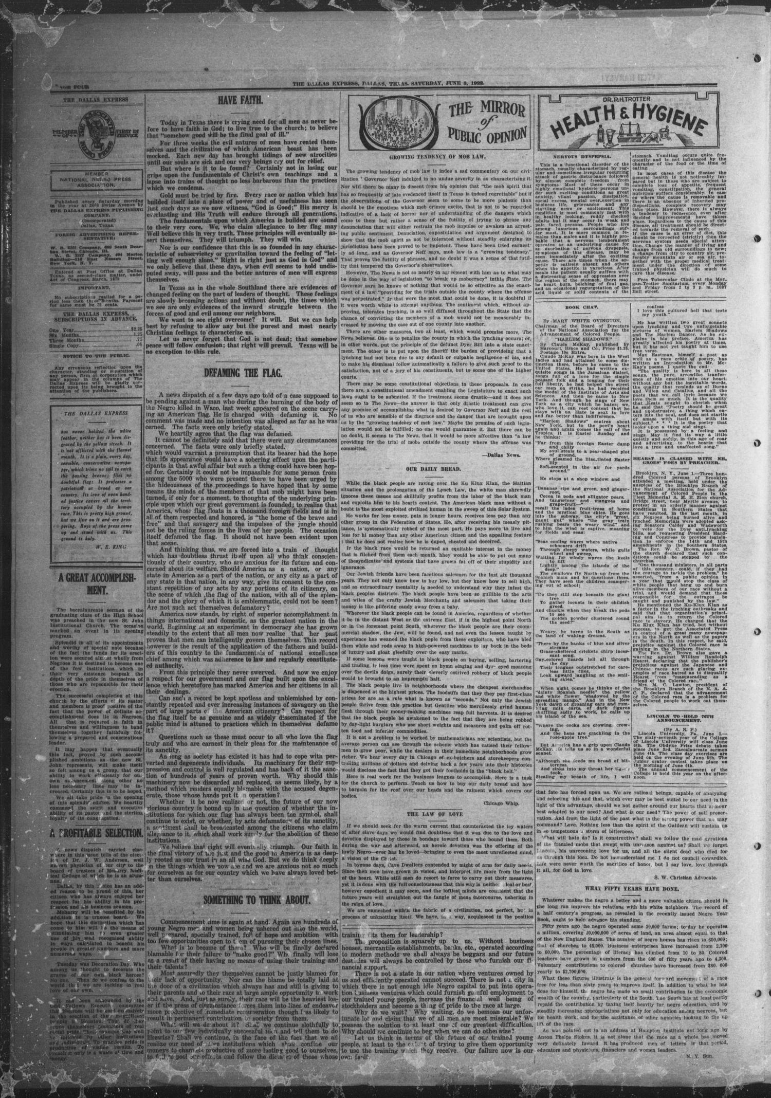 The Dallas Express (Dallas, Tex.), Vol. 29, No. 33, Ed. 1 Saturday, June 3, 1922                                                                                                      [Sequence #]: 4 of 8