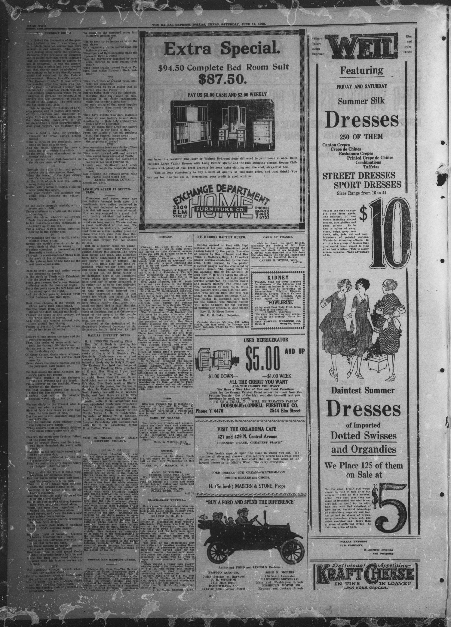 The Dallas Express (Dallas, Tex.), Vol. 29, No. 35, Ed. 1 Saturday, June 17, 1922                                                                                                      [Sequence #]: 2 of 8