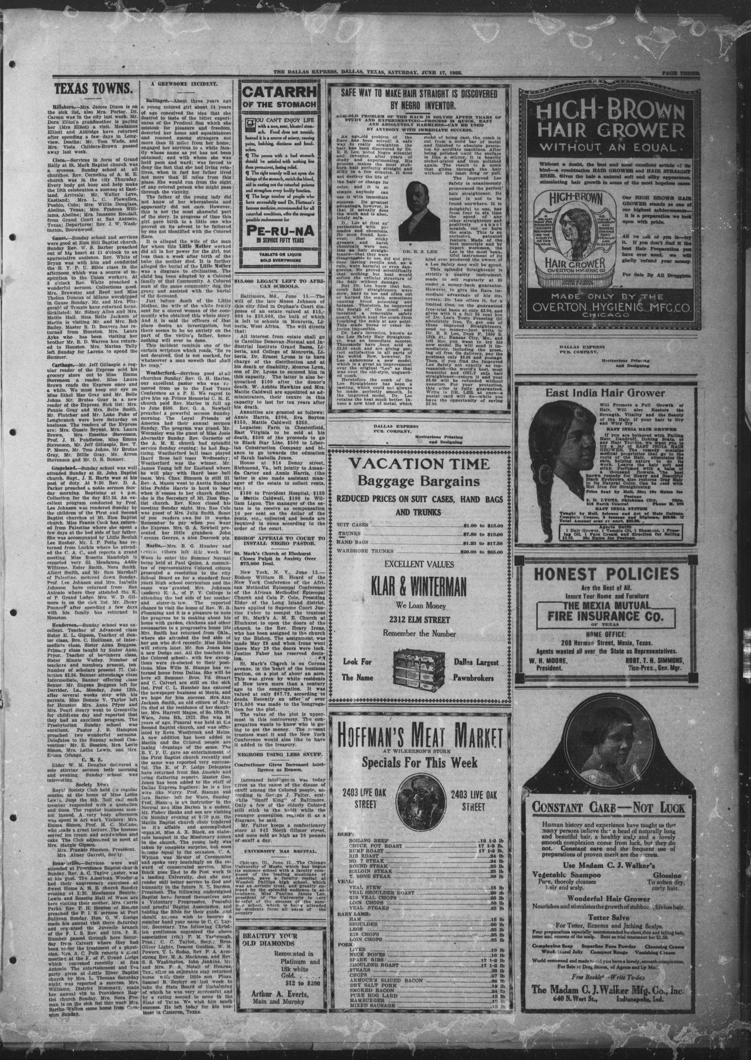 The Dallas Express (Dallas, Tex.), Vol. 29, No. 35, Ed. 1 Saturday, June 17, 1922                                                                                                      [Sequence #]: 3 of 8