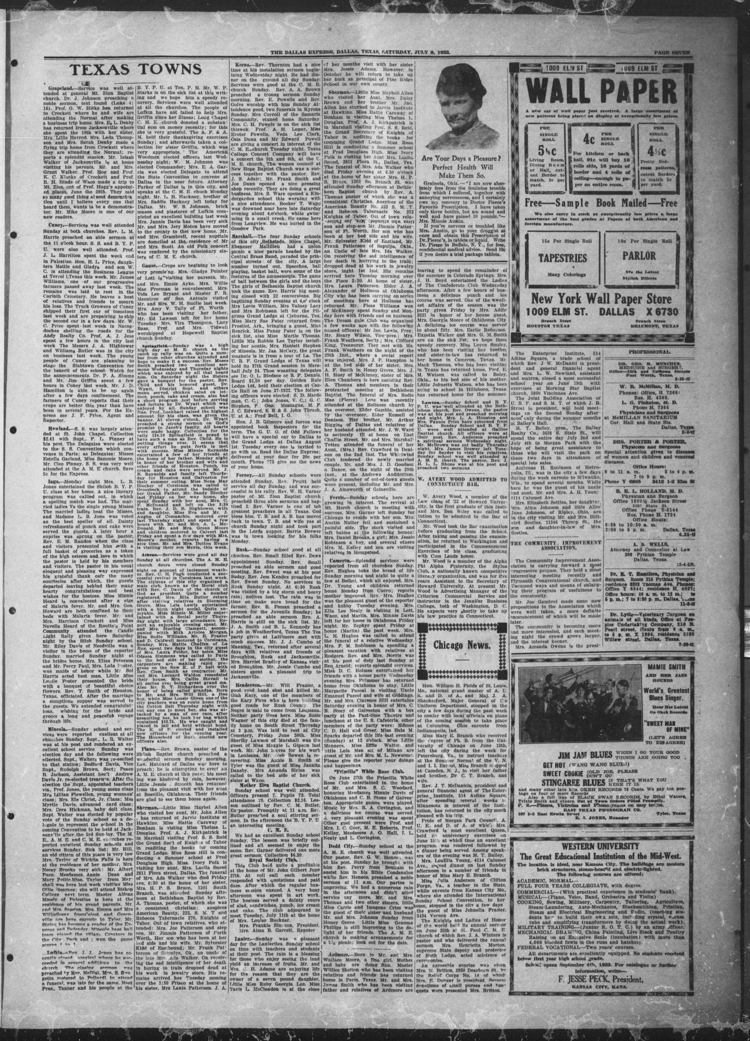 The Dallas Express (Dallas, Tex.), Vol. 29, No. 38, Ed. 1 Saturday, July 8, 1922                                                                                                      [Sequence #]: 7 of 8