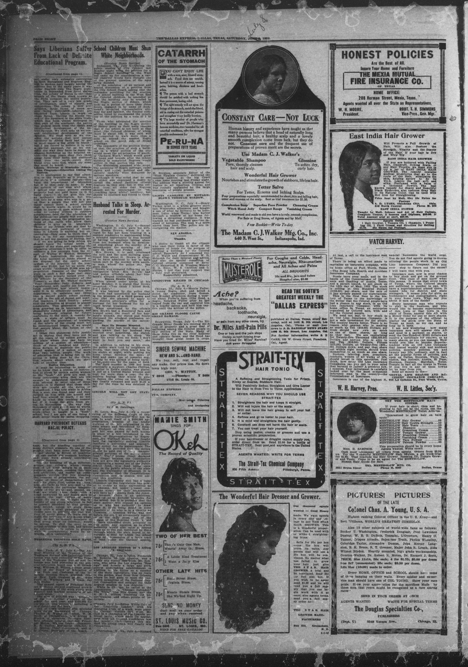 The Dallas Express (Dallas, Tex.), Vol. 29, No. 38, Ed. 1 Saturday, July 8, 1922                                                                                                      [Sequence #]: 8 of 8