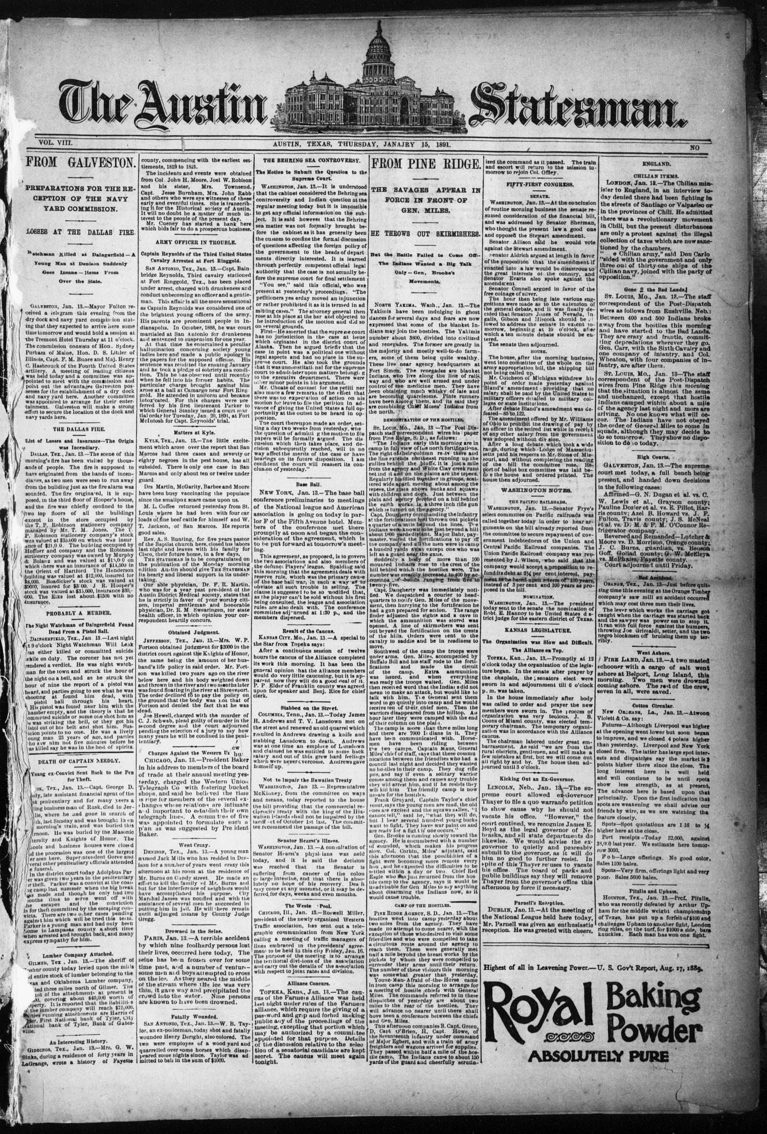 The Austin Statesman. (Austin, Tex.), Vol. 8, Ed. 1 Thursday, January 15, 1891                                                                                                      [Sequence #]: 1 of 8