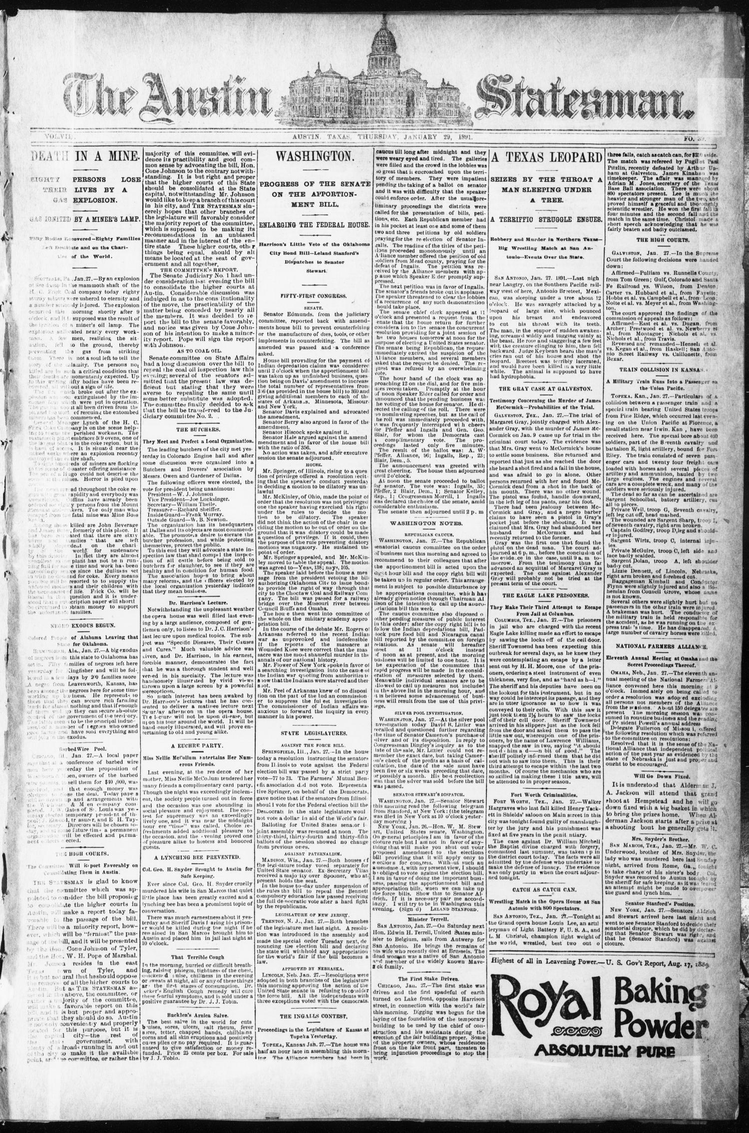 The Austin Statesman. (Austin, Tex.), Vol. 8, No. 39, Ed. 1 Thursday, January 29, 1891                                                                                                      [Sequence #]: 1 of 8