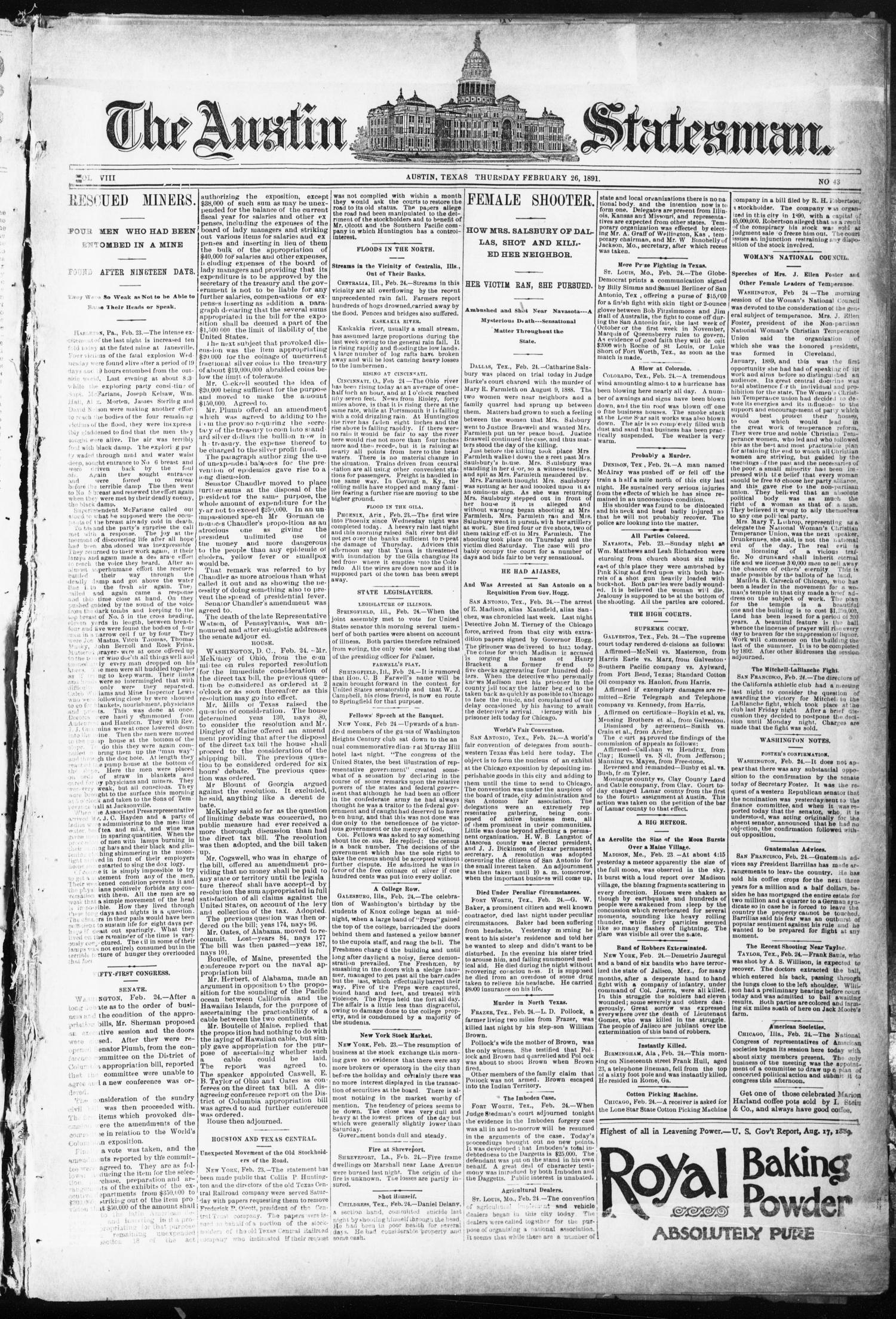 The Austin Statesman. (Austin, Tex.), Vol. 8, No. 43, Ed. 1 Thursday, February 26, 1891                                                                                                      [Sequence #]: 1 of 8