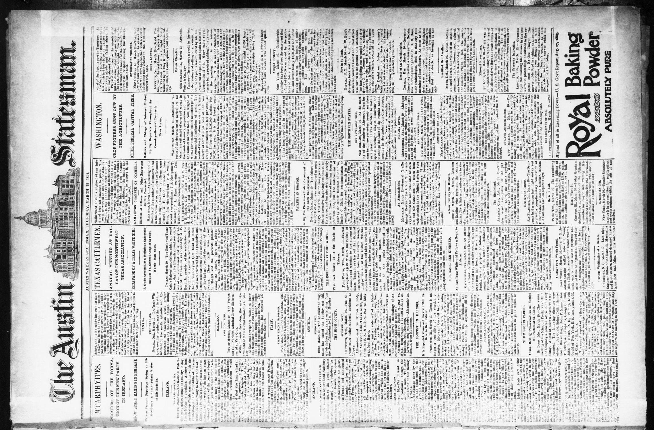 The Austin Statesman. (Austin, Tex.), Ed. 1 Thursday, March 12, 1891                                                                                                      [Sequence #]: 1 of 8