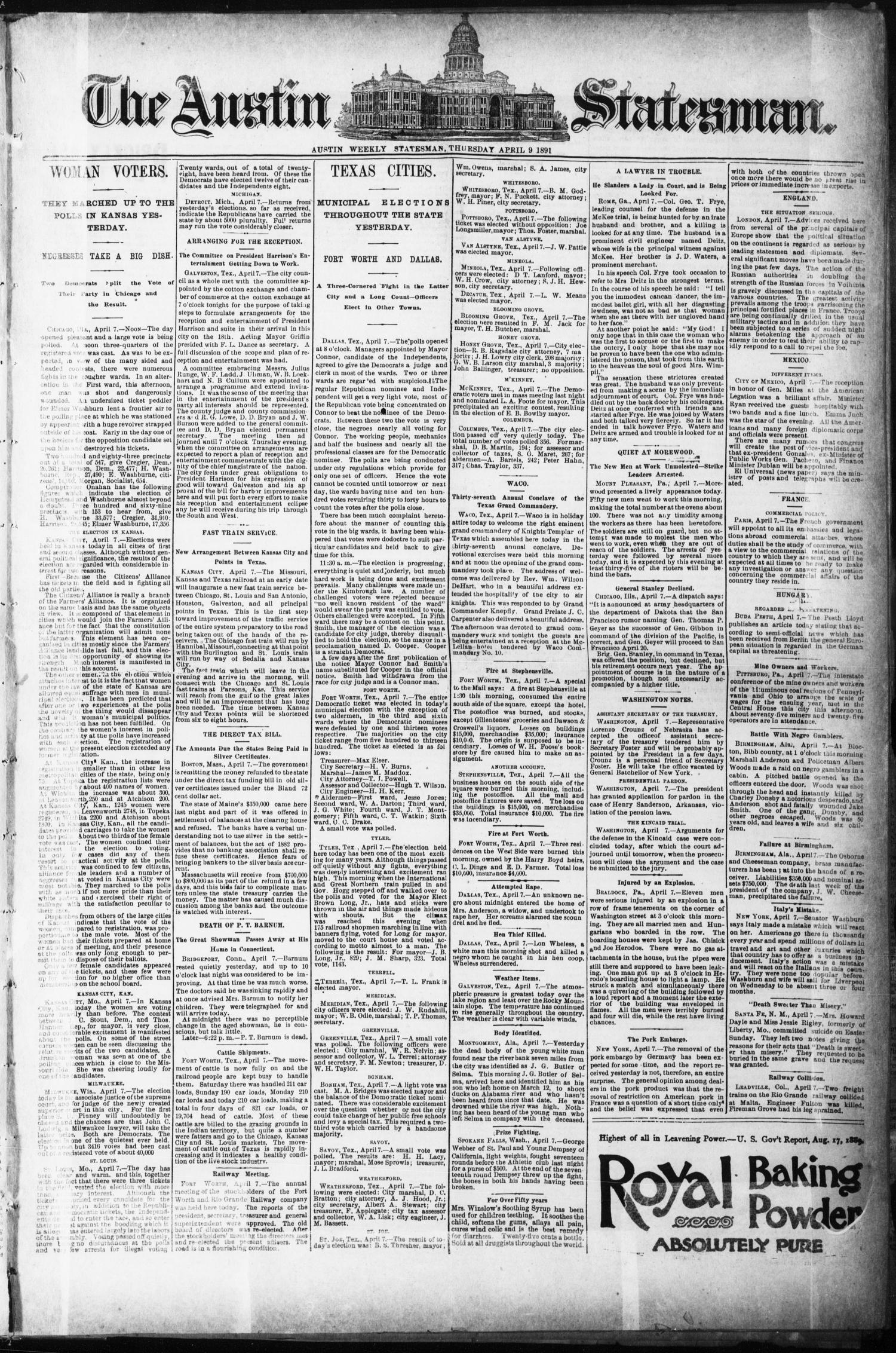 The Austin Statesman. (Austin, Tex.), Ed. 1 Thursday, April 9, 1891                                                                                                      [Sequence #]: 1 of 8