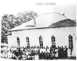 Primary view of object titled 'Congregation of St. John Baptist Church in Front of the Church'.