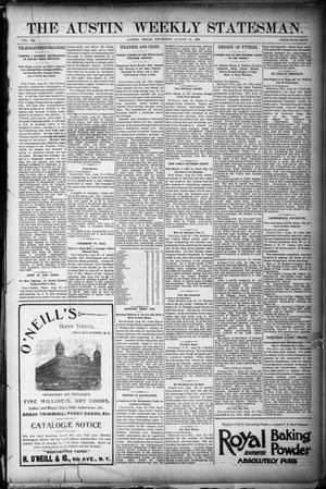 Primary view of object titled 'The Austin Weekly Statesman. (Austin, Tex.), Vol. 20, Ed. 1 Thursday, August 25, 1892'.