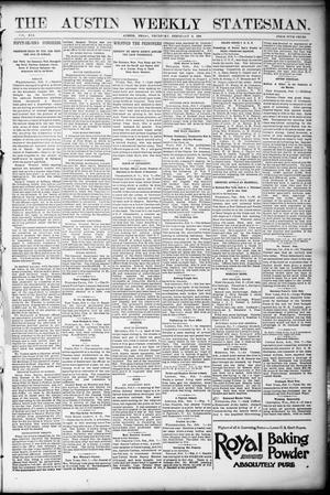 Primary view of object titled 'The Austin Weekly Statesman. (Austin, Tex.), Vol. 21, Ed. 1 Thursday, February 9, 1893'.