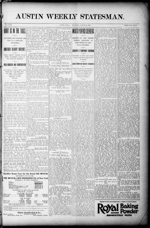 Primary view of object titled 'Austin Weekly Statesman. (Austin, Tex.), Vol. 26, Ed. 1 Thursday, August 20, 1896'.