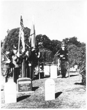 Primary view of object titled 'Soldiers at Attention in a Cemetery in Fort Sill, Oklahoma'.