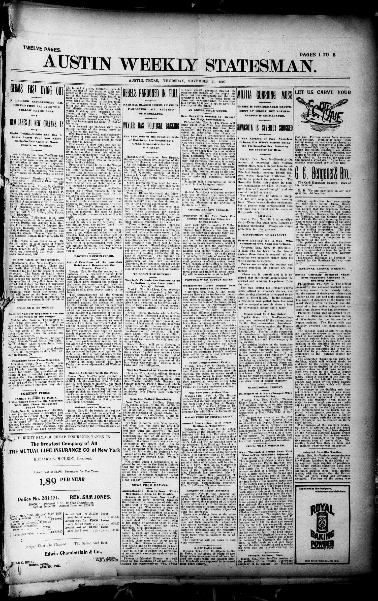 Austin Weekly Statesman. (Austin, Tex.), Ed. 1 Thursday, November 11, 1897                                                                                                      [Sequence #]: 1 of 12