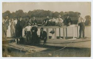 Primary view of object titled '[Postcard of a Boat on Clear Creek]'.
