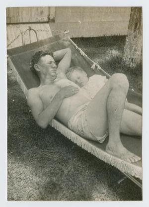 Primary view of object titled '[Father and Son in a Hammock]'.