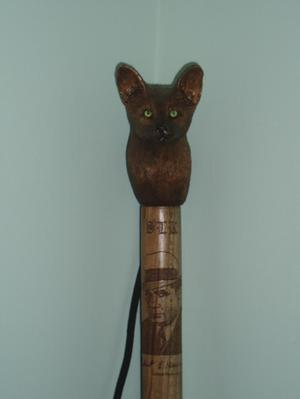 Primary view of object titled 'Memorial walking stick at the Robert E. Howard Museum'.