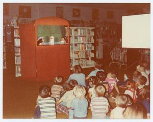 Primary view of object titled '[Children's Puppet Show at the Helen Hall Library]'.