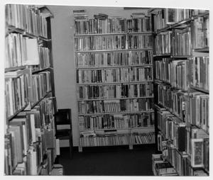 Primary view of object titled '[Bookshelves Inside Helen Hall Library]'.