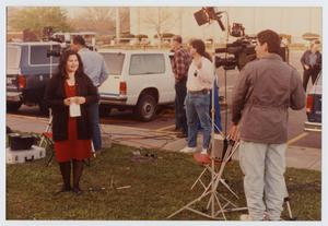 [News Reporter Covering a Republican Rally]