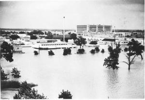 Primary view of object titled 'Flooded Area of Stores and Homes Near Downtown Fort Worth During Flood of 1949'.
